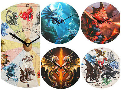 Stunning New Anne Stokes Age Of Dragons Clock -34Cm - 5 Designs