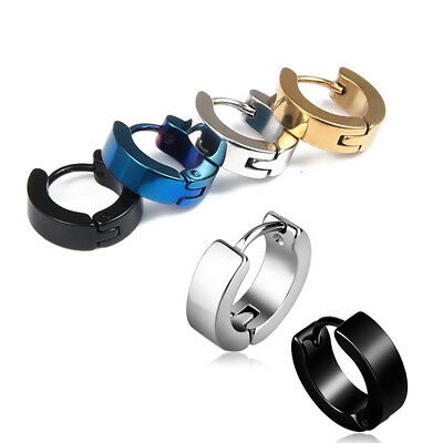New Pair Hoop Huggie Earrings Mens Womens Kids Punk Black Silver Gold Blue