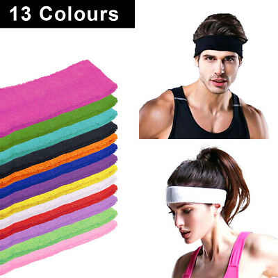 Unisex Cotton Sports Headband Sweat Sweatbands Head Band Tennis Badminton Yoga
