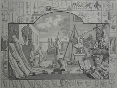 Analysis of Beauty - Hogarth - Radierung Köpfe Statue Antike Anatomie - 1753