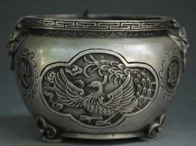 Chinese old  Tibet silver hand engraving Dragon phoenix pattern pot