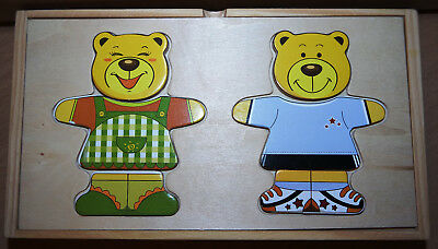 Sehr schönes Holz Puzzle Anziehpuzzle Bär Teddy in Holzbox
