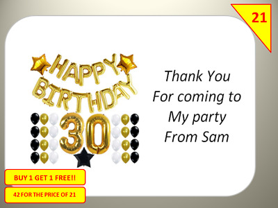 42 Personalised Happy 30th Birthday Labels Stickers sweet Cones Gift bags boxes