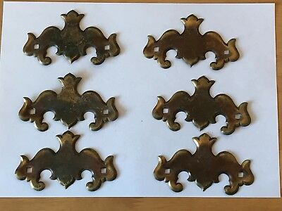 6 Antique Brass Art Nouveau Drawer Pull Back Plates Gothic Design Salvage