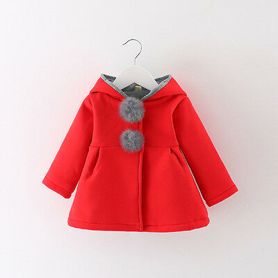 Newborn Infant Girl Warm Winter Outerwear Hooded Coat Cotton Jacket Kids Clothes