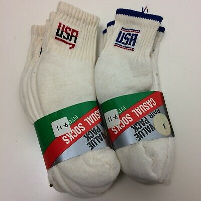 DEADSTOCK Vintage 80's 90's 6 Pair TEAM USA Sport Socks Made In USA Size 9-11