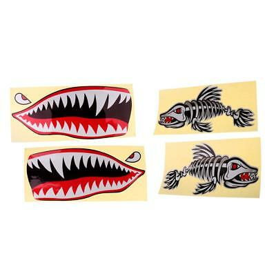 4pcs Skeleton Fish Bone and Shark Teeth Mouth Decals Stickers for Kayak Boat