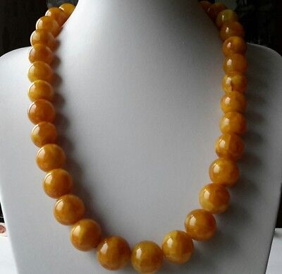 Antique 118g 65cm Baltic Natural Amber Egg Yolk Butterscotch Round Bead Necklace
