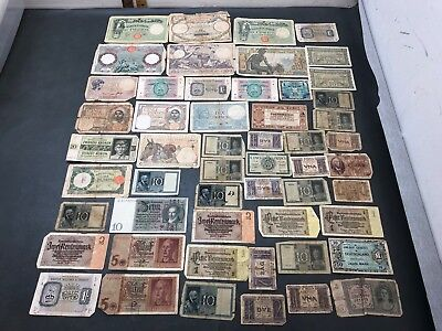 50+ Pcs. WWII Era Foerign & Military World Currency Paper Money Lot Soldier Etc.