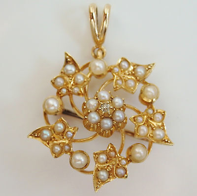 Antique Victorian 15ct Gold Diamond & Pearl set Pendant Brooch Necklace c1885