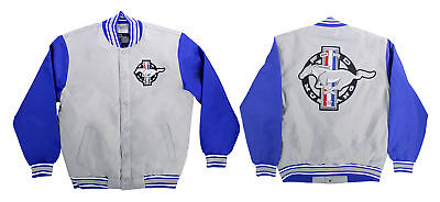 Mustang Jacket Poly-Twill Gray/Blue XX-Large | CJ Pony Parts