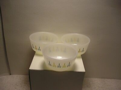 (3)Vintage FIRE KING  Candle Glow Custard  Cups