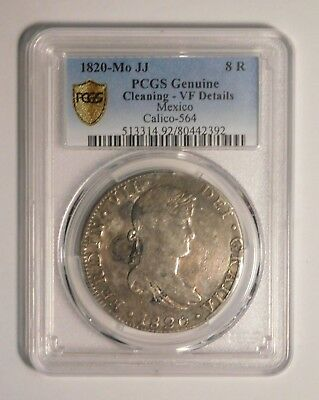 1820 MO JJ 8 Reales PCGS Genuine Cleaning VF Details Mexico Calico-564