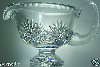Vintage Cut Glass Or Crystal Large Creamer Pineapple Or Strawberry Pattern