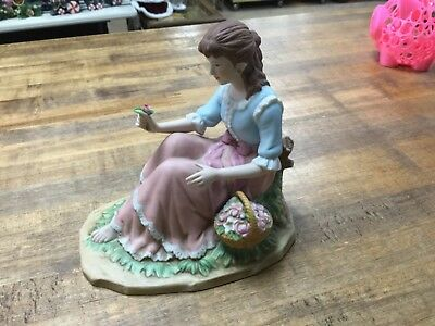 Home Interiors Gifts Behold The Beauty Woman & Flowers Figurine Homco 14010-99