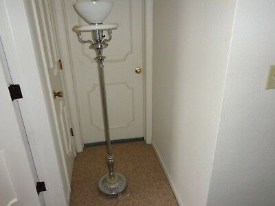 Vintage Chrome Art Deco Floor Lamp Ornate Chrome Base Two Bulb Glass Shade