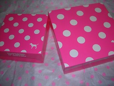 VICTORIA'S SECRET PINK POLKA DOT GIFT BOXES & TISSUE & A Small Gift Bag NEW