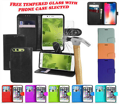Leather Flip Wallet Book Case Cover Apple Phones 5S 6s 6PLUS 8 & Tempered Glass