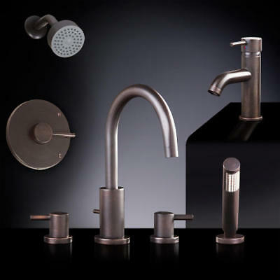 Rotunda 4 Piece Roman Tub and Shower Set with Curved Single Hole Faucet