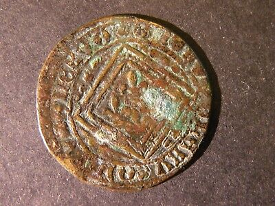 1600's France Coin Medieval Ancient Copper Lot Antique Collectible Ship Europe