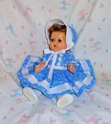 """Carrie's Creations *Blue White Floral* for 11"""" TinyTears/Dydee/BetsyWetsy,etc."""
