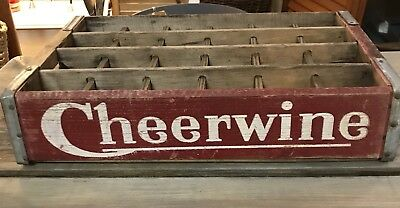 Cheerwine Wooden Soda Bottle Crate Old Style