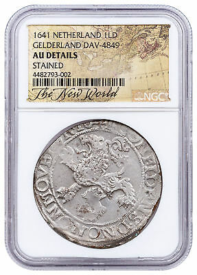1641 Netherlands Silver New York Lion Dollar NGC AU - Exclusive Label SKU52076