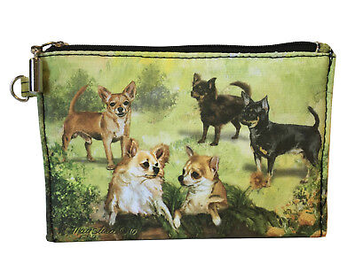 NEW Chihuahuas Zippered Pouch Coin Purse Makeup Jewelry ID Bag Dogs Maystead Art