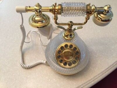 Crystal and brass VINTAGE FRENCH VICTORIAN STYLE push button PHONE. Working.