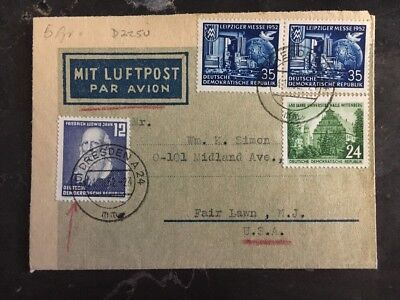 1952 Dresden East Germany DDR Censored Airmail Cover To Fair Lawn NJ USA