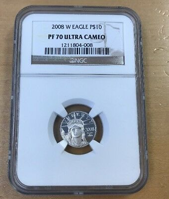 2008 W $10 1/10 Oz. Platinum American Eagle PF70 Ultra Cameo by NGC (T35)