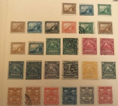 Early Nicaragua Over 200 Stamps Used Unused Hinged 6 Album Pages Collection