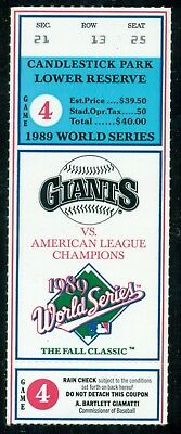 1989 World Series Game 4 Ticket stub Oakland A's San Francisco Giants  (WI)