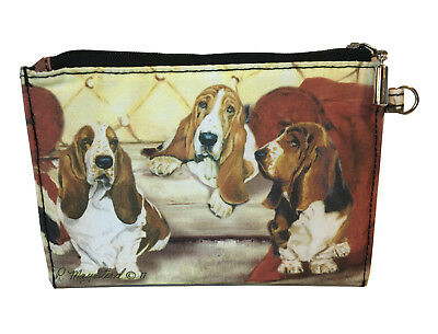 NEW Basset Hounds Zippered Pouch Coin Purse Makeup Jewelry ID Bag Dogs Maystead