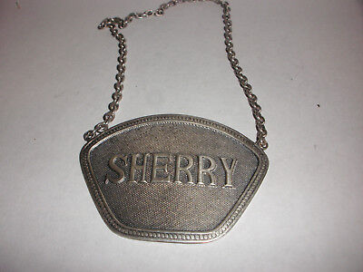 Vintage Sherry Wine Decanter Bottle Label Sterling Silver
