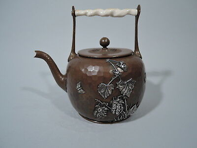 Gorham Teapot - 85 - American Mixed Metal Silver & Hand Hammered Copper - 1881
