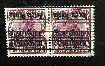 Poland 1918, Germania stamps GG Warschau, paire Fi#16, inverted/double overprint