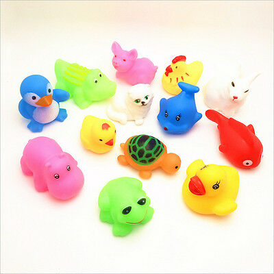 13X Cute Mixed Animals Colorful Soft Rubber Float Squeeze Sound Toy For Baby OZ