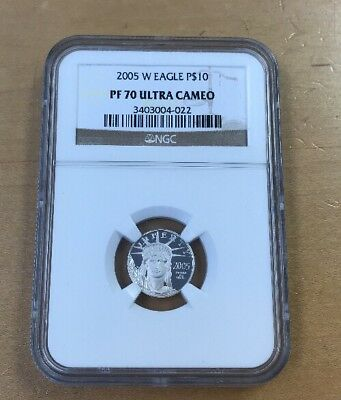 2005 W $10 1/10 Oz. Platinum American Eagle PF70 Ultra Cameo by NGC (T37)