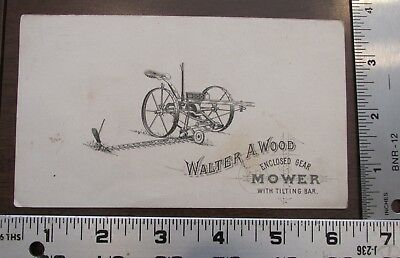 Victorian Advertising Trade Card Walter Wood Enclosed Gear Mower TIlting Bar
