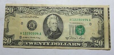 1981 20 Dollar Off Cent Cut On Front Federal Reserve Note Serial H12290994A