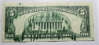 1977 5 Dollar With Ink Drip On Back Federal Reserve Note Serial L36286793B