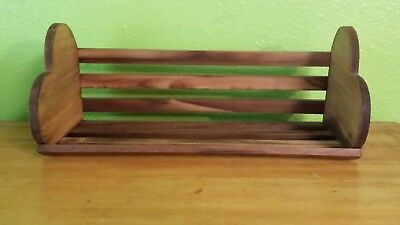 Vtg Wooden Wall Knick-Knack Shelf W/heart Ends She Shed Shabby Chic Farm Country