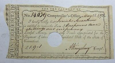 1792 State Of Connecticut Coptrollers Office Iterset Payment Cert No 14039