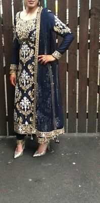 navy mongas bridal wedding indian pakistani outfit