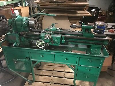 """Complete  Southbend Lathe 10"""" Hardened Ways, Taper, Chucks, Tooling, Cabinet"""