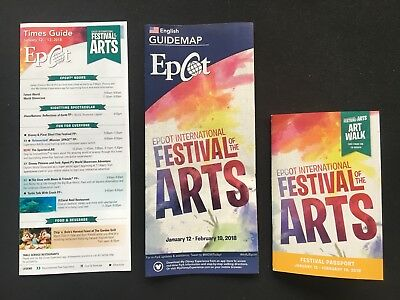 Disney Parks Epcot Festival Of The Arts 2018 Time & Map Guide w Passport Figment
