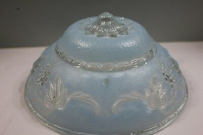 Vintage Frosted Blue Ceiling Light Cover Fixture Art Deco