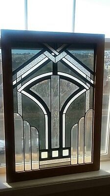 Modern Contemporary Deco Stained Glass Framed Oak Window Signed Jackson 1980