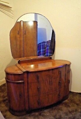 Mid-Century Art Deco Walnut Shrager Dressing Table & Mirror Antique/Vintage